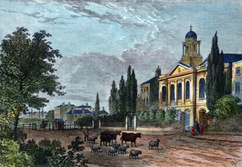 ANTIQUE PRINT: TURNPIKE IN THE HAMPSTEAD ROAD, AND ST. JAMES'S CHURCH, IN 1820.