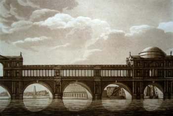 ANTIQUE PRINT: DESIGN FOR A BRIDGE NEAR SOMERSET PLACE BY THOS SANDBY ESQR RA.