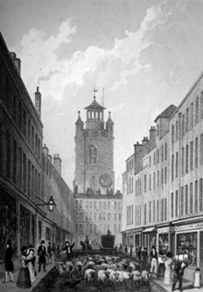 ANTIQUE PRINT: FORE STREET, AND CRIPPLEGATE CHURCH.