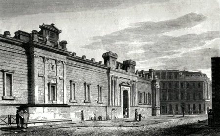 ANTIQUE PRINT: THE BANK, NORTH FRONT, FROM LOTHBURY. LONDON.