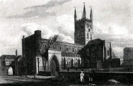 ANTIQUE PRINT: ST. SAVIOUR'S CHURCH, SOUTHWARK, SURREY.