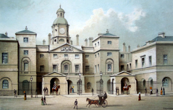 ANTIQUE PRINT: THE HORSE GUARDS.