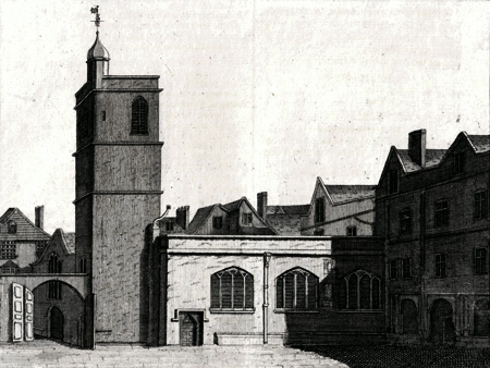 ANTIQUE PRINT: THE SOUTHWEST PROSPECT OF THE CHURCH OF ST. BARTHOLOMEW THE LESS.