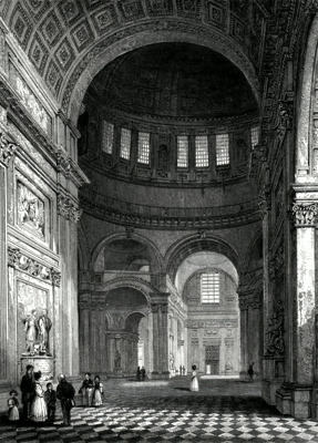 ANTIQUE PRINT: ST. PAUL'S CATHEDRAL. INTERIOR OF THE DOME, LOOKING TOWARDS THE NORTHERN TRANSEPT.