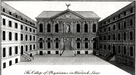 ANTIQUE PRINT: THE COLLEGE OF PHYSICIANS IN WARWICK LANE.