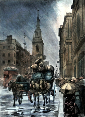 ANTIQUE PRINT: CHEAPSIDE – A RAINY DAY.