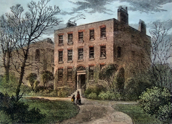 ANTIQUE PRINT: THE MANOR-HOUSE, DALSTON.