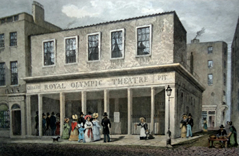 ANTIQUE PRINT: OLYMPIC THEATRE, WYCH STREET.
