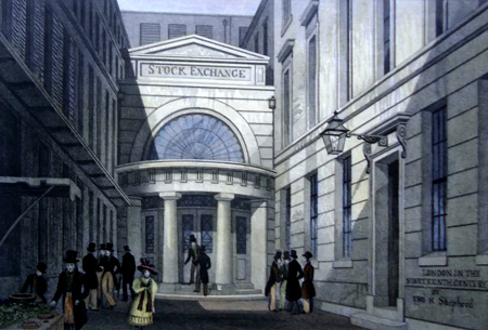 Antique print of the Stock Exchange