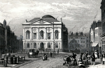 ANTIQUE PRINT: SESSIONS HOUSE, CLERKENWELL GREEN.
