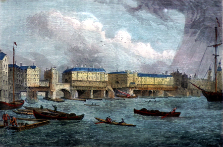 ANTIQUE PRINT: LONDON BRIDGE, 1756. FROM AN OLD VIEW, TAKEN SHORTLY BEFORE THE DEMOLITION OF THE HOUSES.