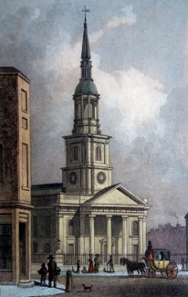ANTIQUE PRINT: ST. LEONARD'S, SHOREDITCH.