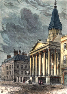 ANTIQUE PRINT: ST. GEORGE'S CHURCH, BLOOMSBURY.