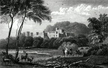 ANTIQUE PRINT: HADDON HALL, DERBYSHIRE.