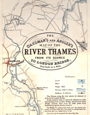 REYNOLDS & SONS, James – publishers : THE OARSMAN'S AND ANGLER'S MAP OF THE RIVER THAMES FROM ITS SOURCE TO LONDON BRIDGE.