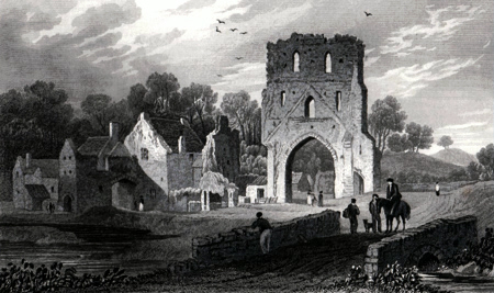 ANTIQUE PRINT: PILLE PRIORY, PEMBROKESHIRE.