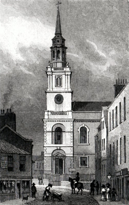 ANTIQUE PRINT: ST. JAMES'S CLERKENWELL.