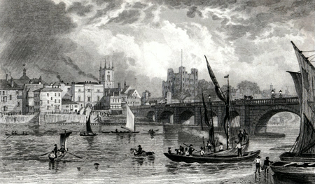 ANTIQUE PRINT: ROCHESTER BRIDGE.
