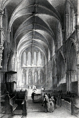 ANTIQUE PRINT: INTERIOR OF SOUTHWELL CATHEDRAL, NOTTINGHAMSHIRE.
