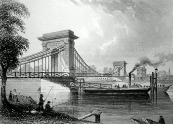 ANTIQUE PRINT: HAMMERSMITH SUSPENSION BRIDGE.