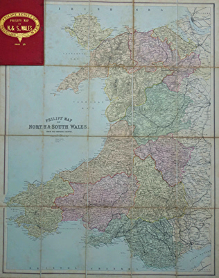 ANTIQUE MAP: PHILIPS' MAP OF NORTH & SOUTH WALES. TAKEN FROM THE ORDNANCE SURVEY.