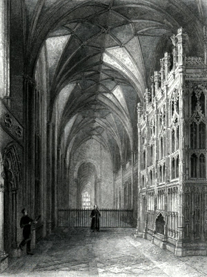 ANTIQUE PRINT: WINCHESTER CATHEDRAL. SOUTH AISLE OF CHOIR SHEWING BISHOP FOX'S MONUMENT, LOOKING WEST.