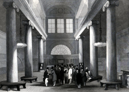 ANTIQUE PRINT: STOCK EXCHANGE.