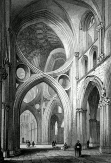 ANTIQUE PRINT: WELLS CATHEDRAL. VIEW FROM THE NORTH TRANSEPT.