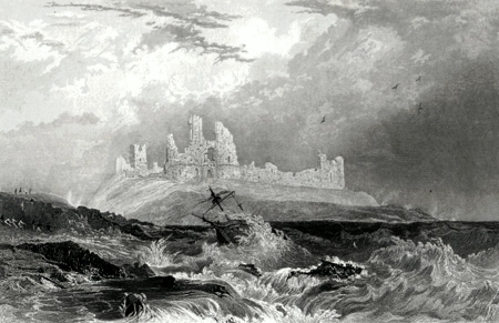 ANTIQUE PRINT: DUNSTANBURGH-CASTLE, NORTHUMBERLAND.