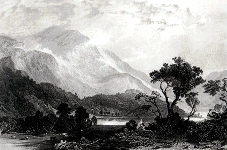 ANTIQUE PRINT: HELVELLYN, FROM THE NORTH WEST, CUMBERLAND.