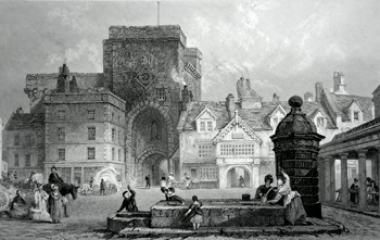 ANTIQUE PRINT: HEXHAM MARKET PLACE, NORTHUMBERLAND.
