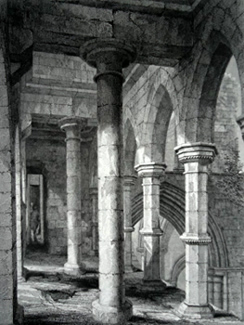 ANTIQUE PRINT: ABERBROTHOC ABBEY. GALLERY OVER THE WESTERN ENTRANCE.