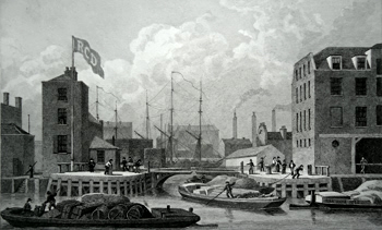 Antique print of Limehouse, London