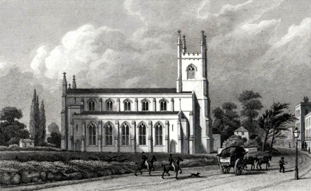 ANTIQUE PRINT: ST. PAUL'S CHURCH, BALLS POND.
