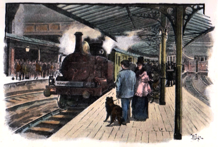 ANTIQUE PRINT: THE MANSION HOUSE RAILWAY STATION.