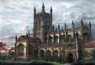 ANTIQUE PRINT: MALVERN PRIORY CHURCH.