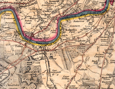 ANTIQUE MAP: THE COUNTRY TWENTY-FIVE MILES ROUND LONDON, PLANNED FROM A SCALE OF ONE MILE TO AN INCH.
