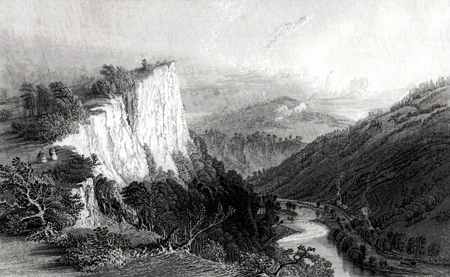 ANTIQUE PRINT: THE HIGH TOR, NEAR MATLOCK, DERBYSHIRE.