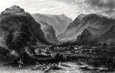 ANTIQUE PRINT: THE VALE OF ST. JOHN, SADDLEBACK IN THE DISTANCE.
