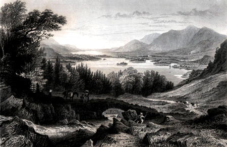 ANTIQUE PRINT: DERWENT & BASSENTHWAITE LAKES, – KESWICK & SKIDDAW IN THE DISTANCE, CUMBERLAND.