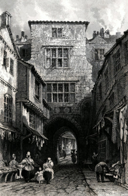 ANTIQUE PRINT: THE BLACK GATE, NEWCASTLE ON TYNE, NORTHUMBERLAND.