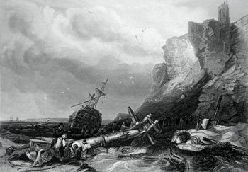 ANTIQUE PRINT: TYNEMOUTH CASTLE. VESSEL WRECKED ON THE ROCKS.