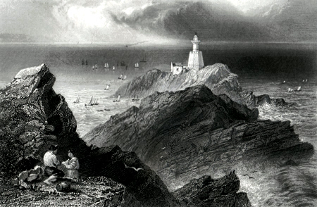 ANTIQUE PRINT: THE MUMBLES ROCKS AND LIGHTHOUSE. (SWANSEA BAY.)