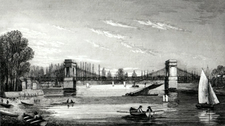 ANTIQUE PRINT: HAMMERSMITH BRIDGE.