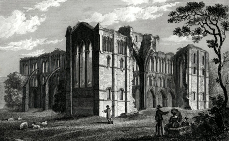 ANTIQUE PRINT: RIVAULX ABBEY.