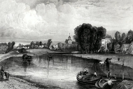 ANTIQUE PRINT: SUNBURY, MIDDLESEX.
