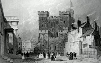 ANTIQUE PRINT: THE CASTLE, FROM THE COUNTY COURT, NEWCASTLE – TYNE.
