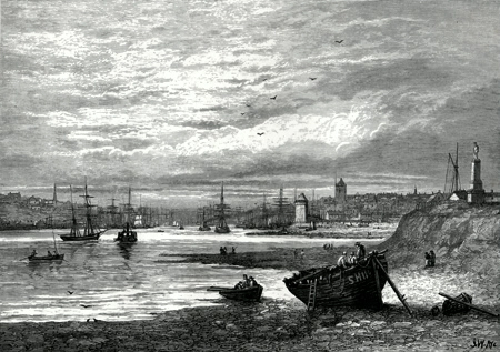 ANTIQUE PRINT: NORTH AND SOUTH SHIELDS.