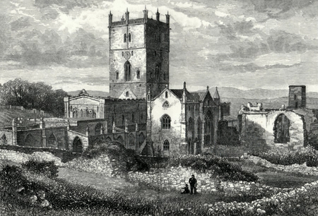 ANTIQUE PRINT: ST. DAVID'S CATHEDRAL AND THE COLLEGE FROM THE NORTH-EAST.
