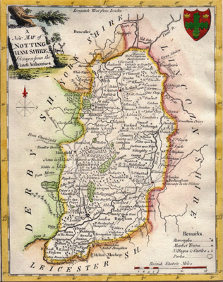 ANTIQUE MAP: A NEW MAP OF NOTTINGHAMSHIRE, DRAWN FROM THE LATEST AUTHORITIES.